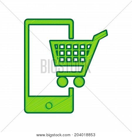 Shopping on smart phone sign. Vector. Lemon scribble icon on white background. Isolated