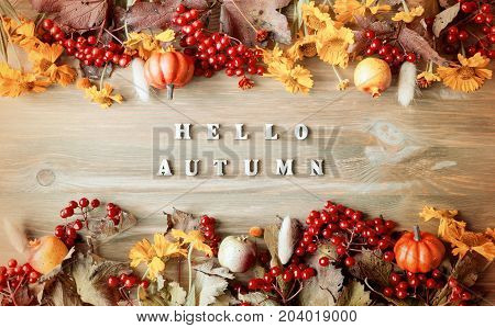 Autumn background with Hello Autumn letters and autumn nature berries pumpkins and flowers on the wooden background. Autumn background in vintage tones with concept of autumn beginning. Vintage autumn still life. Hello Autumn concept