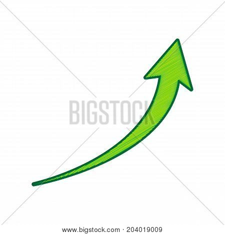 Growing arrow sign. Vector. Lemon scribble icon on white background. Isolated