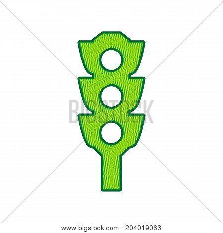 Traffic light sign. Vector. Lemon scribble icon on white background. Isolated
