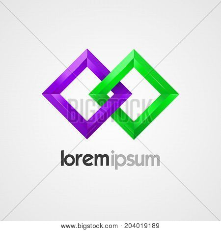 Pair of squares vector template. Creative logo design