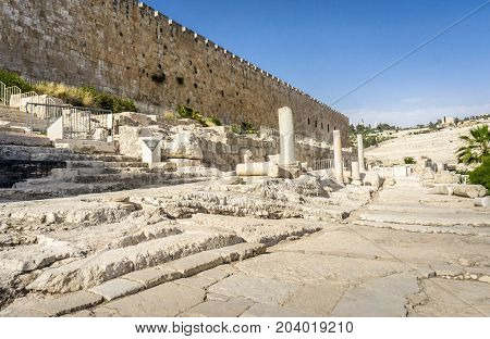 The Archaeological park Davidson Center near Al-Aqsa Mosque on the Temple Mount in Old City of Jerusalem, Israel