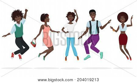 Happy group of african american teamwork friends jumping. Cartoon jump black people character vector illustration