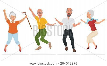 Group of elderly people together. Active and happy old senior jumping. Cartoon vector illustration