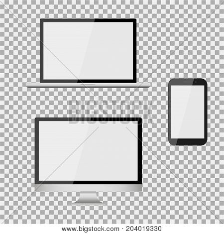 Set Of Realistic Modern Blank Screen Lcd, Led, Tv, Monitor, Laptop, Notebook, Pad, Phone On Isolate