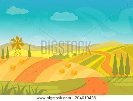 Rural beautiful village landscape with mountains and hills, vector illustration