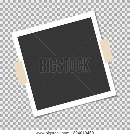 Photo frame with sticky tape on isolate background. Template blank for photo or image