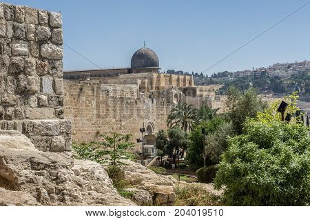 JERUSALEM, ISRAEL - MAY 12: View of the Al-Aqsa Mosque on the Temple Mount in Old City of Jerusalem, Israel on May 12, 2017