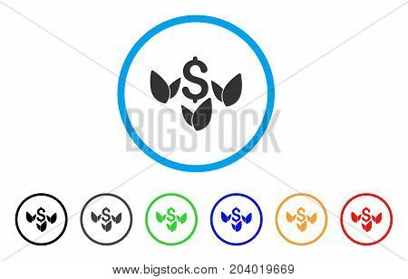 Agriculture Startup icon. Vector illustration style is a flat iconic agriculture startup grey rounded symbol inside light blue circle with black, gray, green, blue, red,