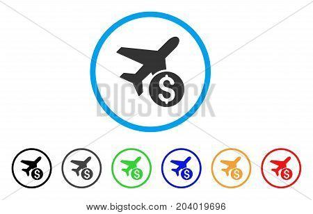 Airplane Price icon. Vector illustration style is a flat iconic airplane price gray rounded symbol inside light blue circle with black, gray, green, blue, red, orange color versions.