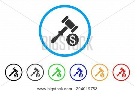 Auction icon. Vector illustration style is a flat iconic auction grey rounded symbol inside light blue circle with black, gray, green, blue, red, orange color variants.