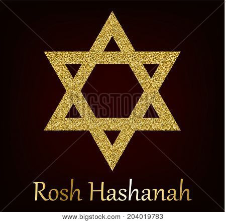 Rosh Hashanah greeting card with star of David made of golden sand. Vector illustration for Jewish New Year