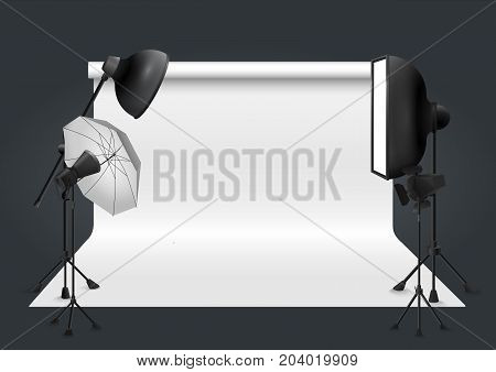Photo studio with lighting equipment and background. Vector illustration