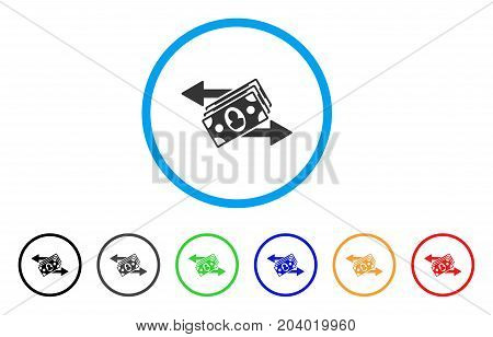 Banknotes Payments icon. Vector illustration style is a flat iconic banknotes payments gray rounded symbol inside light blue circle with black, gray, green, blue, red, orange color versions.