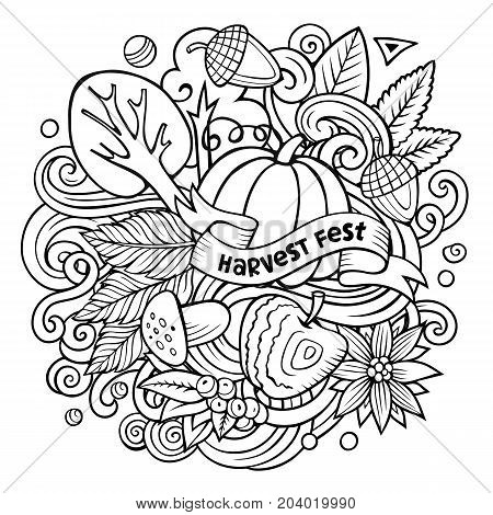Cartoon vector doodles Autumn illustration. Line art detailed, with lots of objects background. All items are separate. Contour fall funny picture