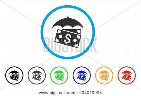 Banknotes Umbrella icon. Vector illustration style is a flat iconic banknotes umbrella grey rounded symbol inside light blue circle with black, gray, green, blue, red,