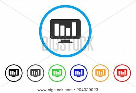 Bar Chart Monitoring icon. Vector illustration style is a flat iconic bar chart monitoring gray rounded symbol inside light blue circle with black, gray, green, blue, red, orange color versions.