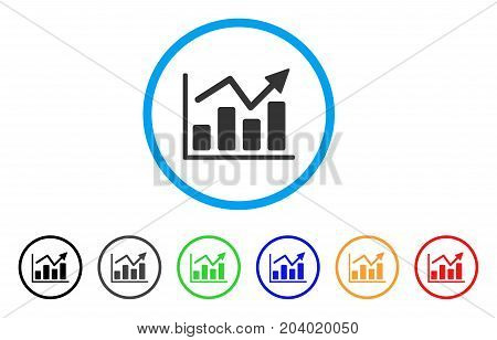 Bar Chart Trend icon. Vector illustration style is a flat iconic bar chart trend gray rounded symbol inside light blue circle with black, gray, green, blue, red, orange color versions.