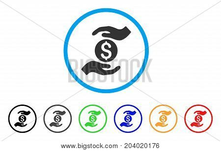 Business Insurance Hands icon. Vector illustration style is a flat iconic business insurance hands grey rounded symbol inside light blue circle with black, gray, green, blue, red,