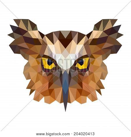 Owl portrait. Abstract low poly design. Vector illustration