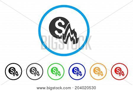 Fire Disaster Price icon. Vector illustration style is a flat iconic fire disaster price grey rounded symbol inside light blue circle with black, gray, green, blue, red, orange color versions.