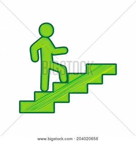 Man on Stairs going up. Vector. Lemon scribble icon on white background. Isolated