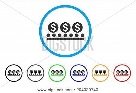 Money Conveyor icon. Vector illustration style is a flat iconic money conveyor grey rounded symbol inside light blue circle with black, gray, green, blue, red, orange color versions.