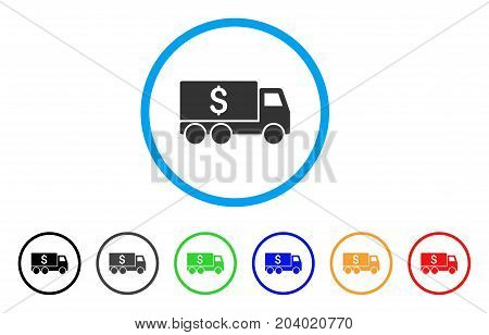 Money Delivery icon. Vector illustration style is a flat iconic money delivery grey rounded symbol inside light blue circle with black, gray, green, blue, red, orange color additional versions.