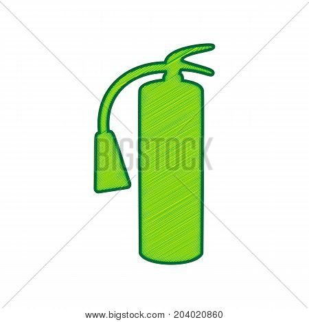 Fire extinguisher sign. Vector. Lemon scribble icon on white background. Isolated