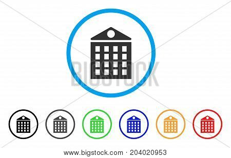 Multi-Storey House icon. Vector illustration style is a flat iconic multi-storey house gray rounded symbol inside light blue circle with black, gray, green, blue, red,