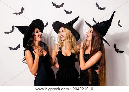 Group Of Three Diverse Charming, Happy Coquettes In Dark Masquerade Elegant Dresses, Talking, Smilin