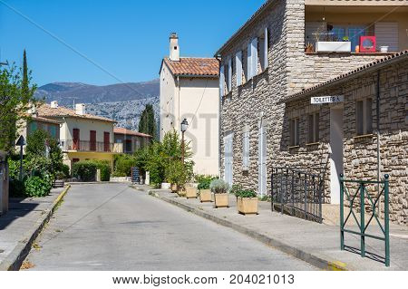 LES SALLES-SUR-VERDON FRANCE - APRIL 24 2016: The street of Les Salles-sur-Verdon a commune in the Var department in the Provence-Alpes-Cote d'Azur region in southeastern France