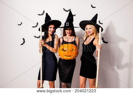 Group Of Three Flirty Coquettes In Masquerade Elegant Dresses, Red Lips, Handmade Cutted Decorative