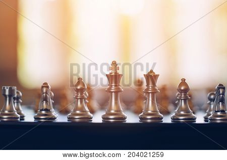 Chess on chessboard game business concept selective focus.