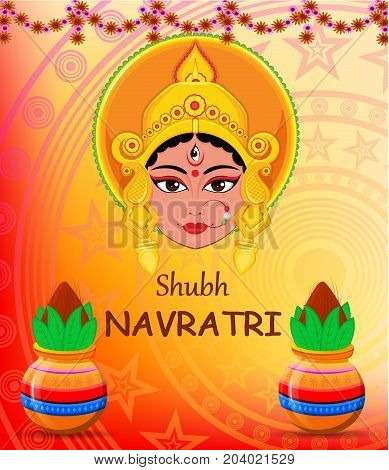 Happy Navratri vector illustration. Maa Durga Face and pots with coconut on abstract background for Hindu Festival.