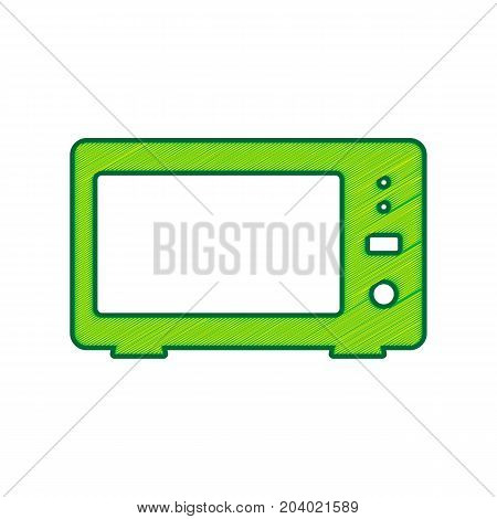 Microwave sign illustration. Vector. Lemon scribble icon on white background. Isolated