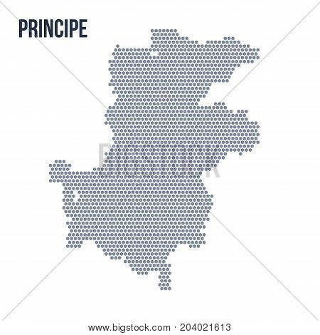 Vector Hexagon Map Of Principe Isolated On White Background