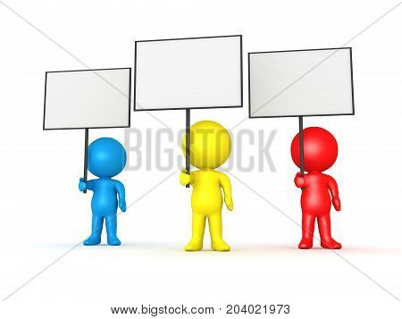 Three colorful 3D Characters holding blank sign placards. Isolated on white.