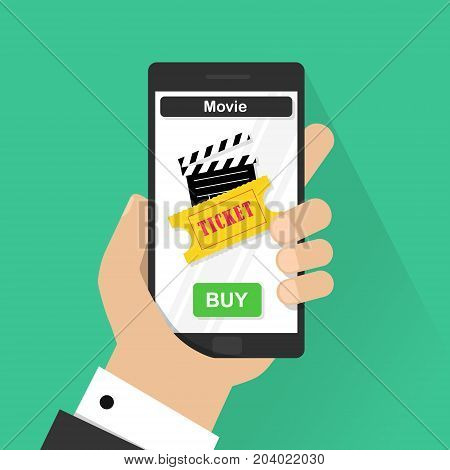 Flat design vector illustration concepts of online cinema ticket. Hand holding mobile smart phone with online buy app. Vector modern flat creative info graphics design