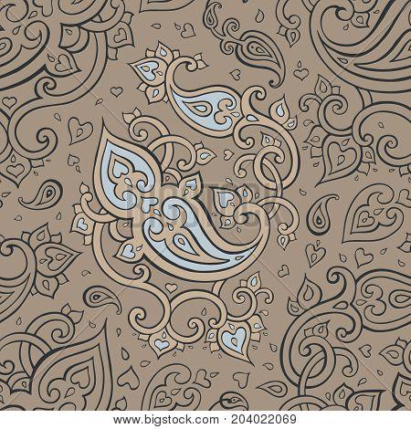 Paisley Beautiful seamless background. Elegant Hand Drawn vintage Pattern