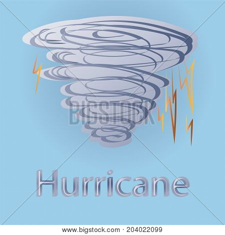 Hand Drawn Hurricane with Lightnings. Vector Doodle Drawings.