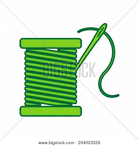 Thread with needle sign illustration. Vector. Lemon scribble icon on white background. Isolated