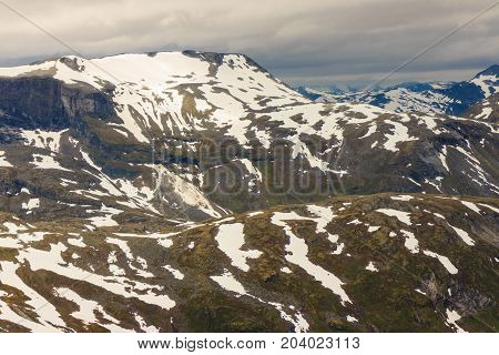 View On Mountains From Dalsnibba Viewpoint In Norway
