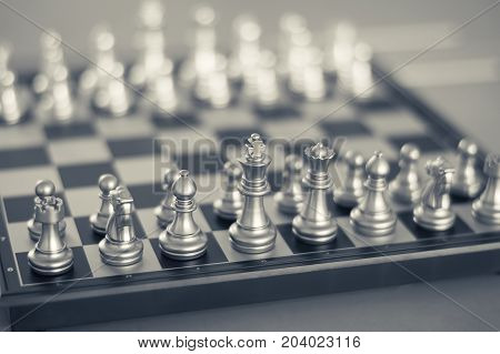 Chess on chessboard game business concept selective focus,black and white effect.