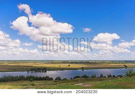 Bank of Oka river (Volga tributary) near Konstantinovo village. Central Russia, Ryazan region