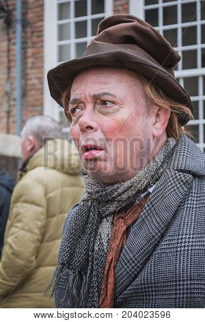 Deventer Netherlands - December 18 2016: Simple soul one of the characters from the famous books of Dickens during the Dickens Festival in Deventer in The Netherlands