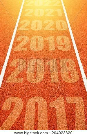 2018 Happy New Year continuous year numbers count on athletics running track