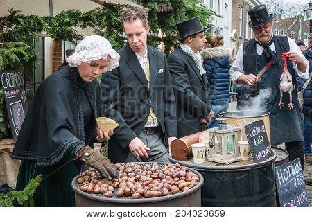 Deventer Netherlands - December 18 2016: Roasted chestnuts for sale at the Dickens festival in Deventer Netherlands