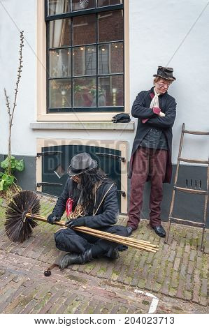 Deventer Netherlands - December 18 2016: Chimney sweeps one of the characters from the famous books of Dickens during the Dickens Festival in Deventer in The Netherlands
