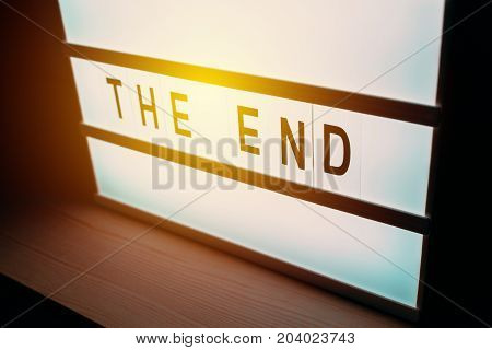 Blinking lightbox signage with The End text